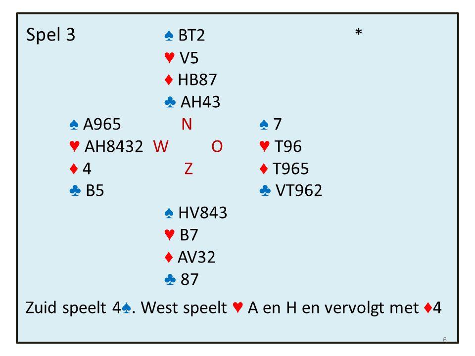 Spel 3 ♠ BT2* ♥ V5 ♦ HB87 ♣ AH43 ♠ A965 N ♠ 7 ♥ AH8432 W O ♥ T96 ♦ 4 Z ♦ T965 ♣ B5 ♣ VT962 ♠ HV843 ♥ B7 ♦ AV32 ♣ 87 Zuid speelt 4 ♠.