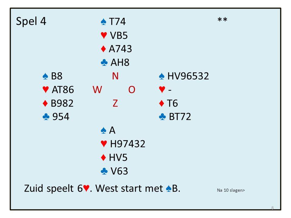 Spel 9 ♠ - Situatie na 5 slagen: ♥ - ♦ HV976 ♣ HB8 ♠ - N ♠ V94 ♥ B87654 W O ♥ HV ♦ B8 Z ♦ - ♣ - ♣ V97 ♠ AHBT ♥ - ♦ - ♣ T543 Noord aan slag speelt nu ruitens door 19