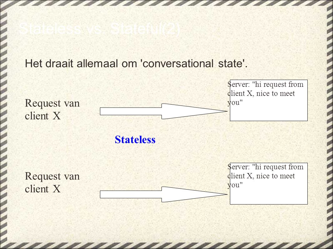 Stateless vs.Stateful(2) Het draait allemaal om conversational state .
