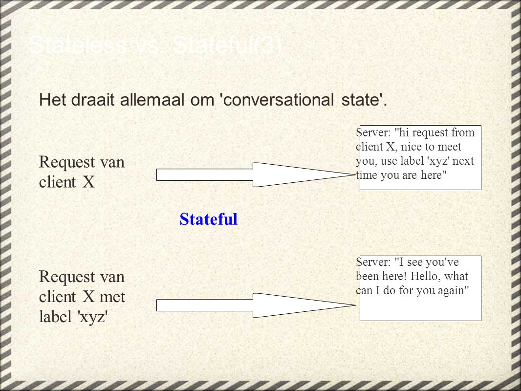 Stateless vs.Stateful(3) Het draait allemaal om conversational state .