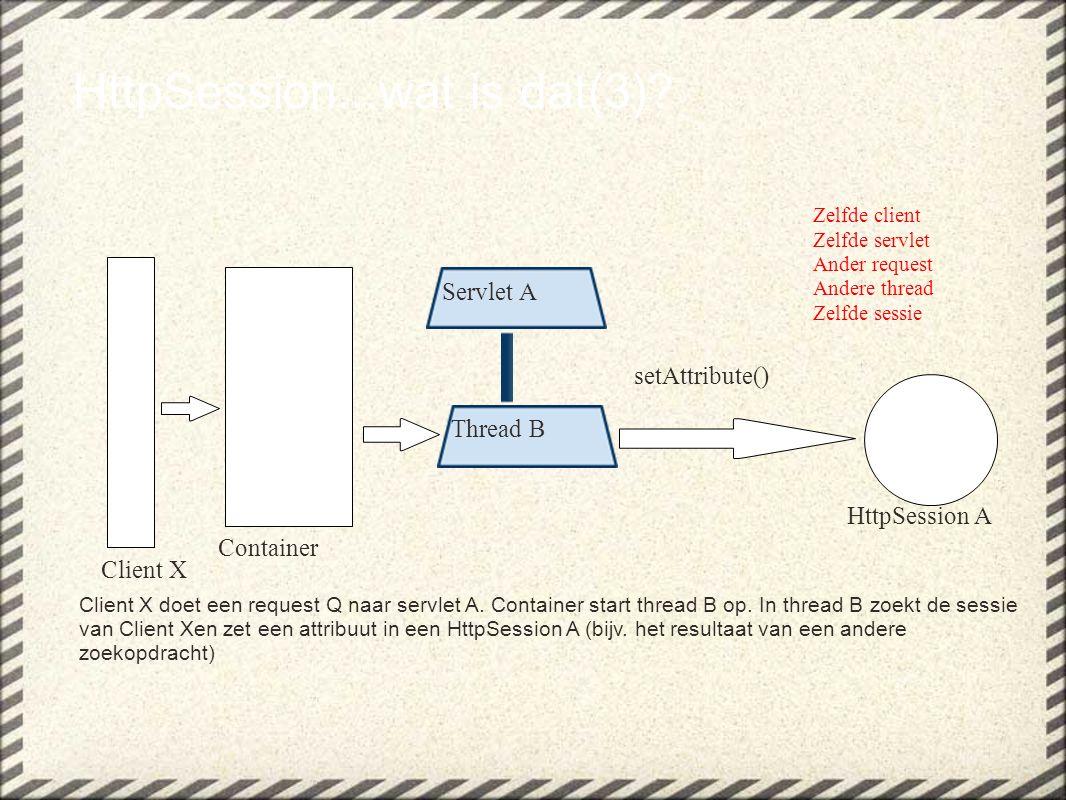 HttpSession...wat is dat(3)? Client X doet een request Q naar servlet A. Container start thread B op. In thread B zoekt de sessie van Client Xen zet e