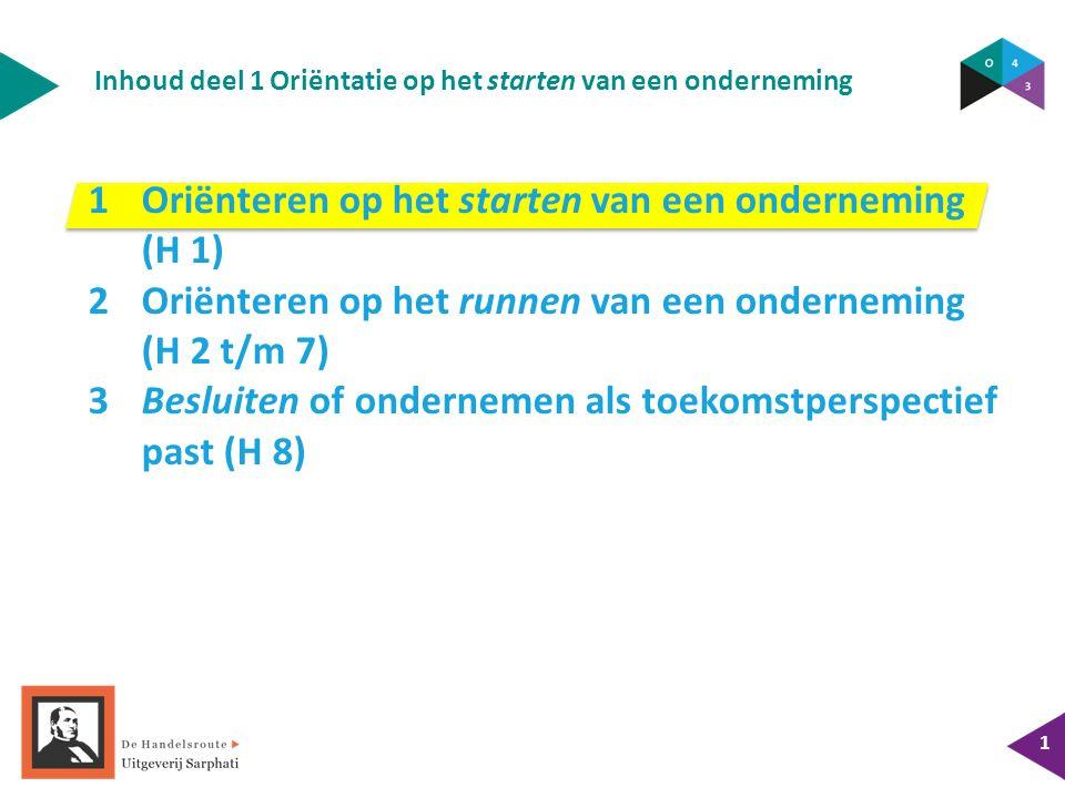 Inhoud deel 1 Oriëntatie op het starten van een onderneming 1 1Oriënteren op het starten van een onderneming (H 1) 2Oriënteren op het runnen van een o