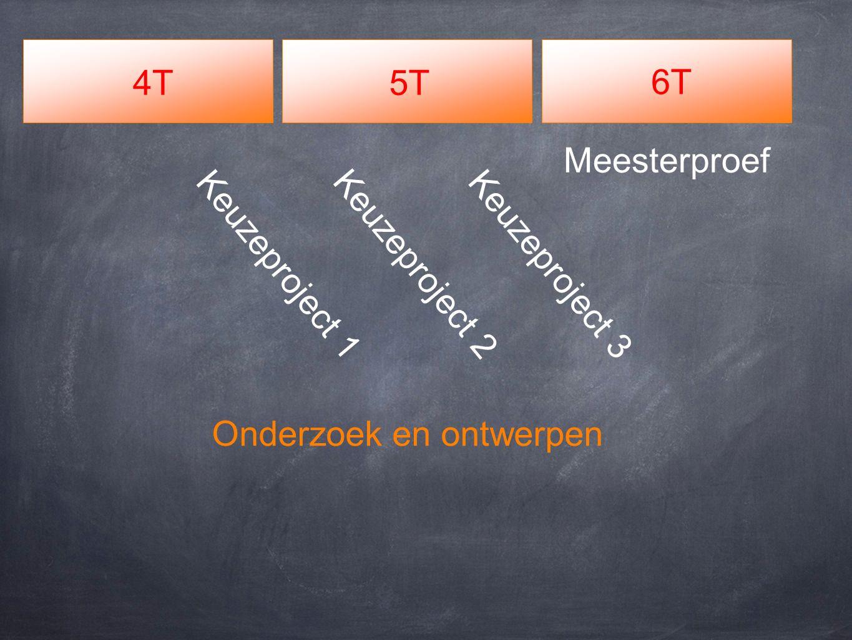 4T5T 6T Meesterproef Keuzeproject 2 Keuzeproject 3 Keuzeproject 1 Onderzoek en ontwerpen
