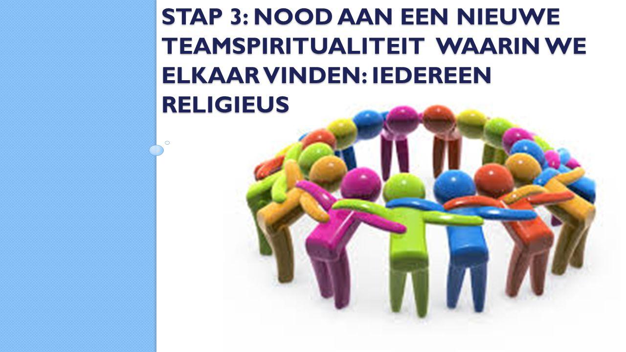 STAP 3: NOOD AAN EEN NIEUWE TEAMSPIRITUALITEIT WAARIN WE ELKAAR VINDEN: IEDEREEN RELIGIEUS