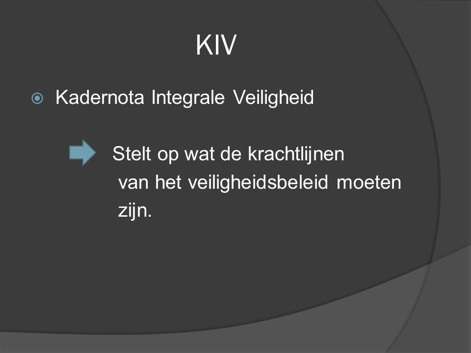 KIV  Kadernota Integrale Veiligheid Stelt op wat de krachtlijnen van het veiligheidsbeleid moeten zijn.