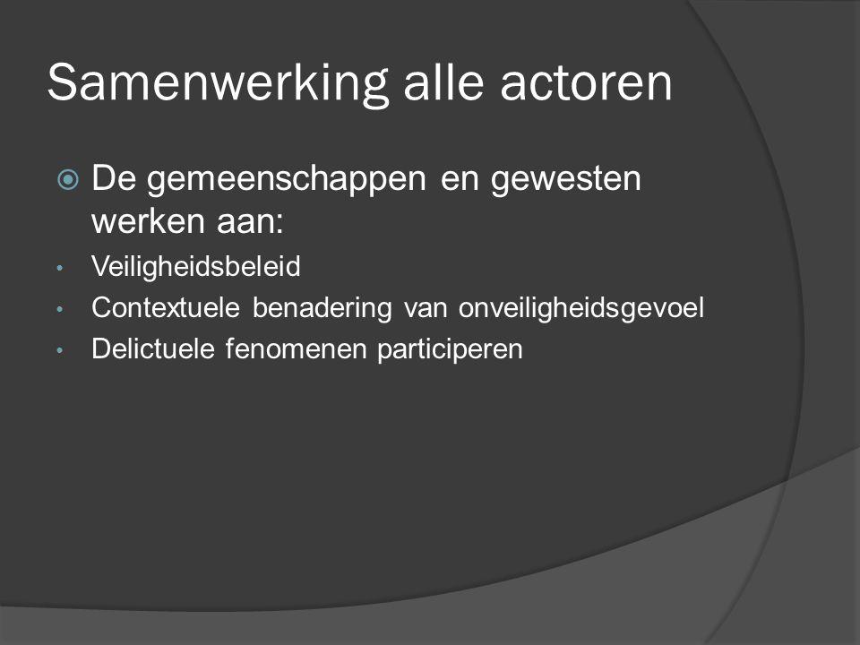 Samenwerking alle actoren  De gemeenschappen en gewesten werken aan: Veiligheidsbeleid Contextuele benadering van onveiligheidsgevoel Delictuele fenomenen participeren