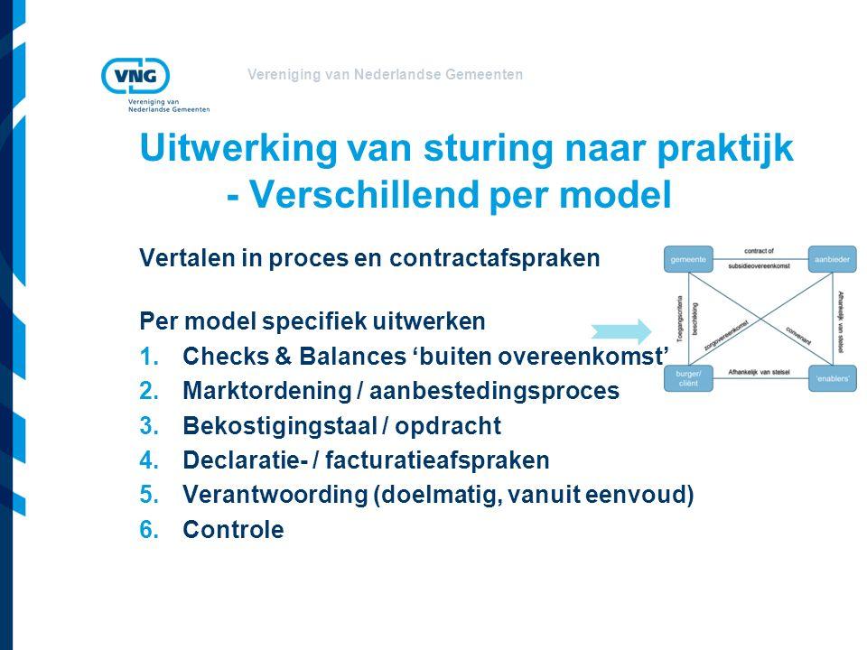 Vereniging van Nederlandse Gemeenten Vertalen in proces en contractafspraken Per model specifiek uitwerken 1.Checks & Balances 'buiten overeenkomst' 2.Marktordening / aanbestedingsproces 3.Bekostigingstaal / opdracht 4.Declaratie- / facturatieafspraken 5.Verantwoording (doelmatig, vanuit eenvoud) 6.Controle Uitwerking van sturing naar praktijk - Verschillend per model