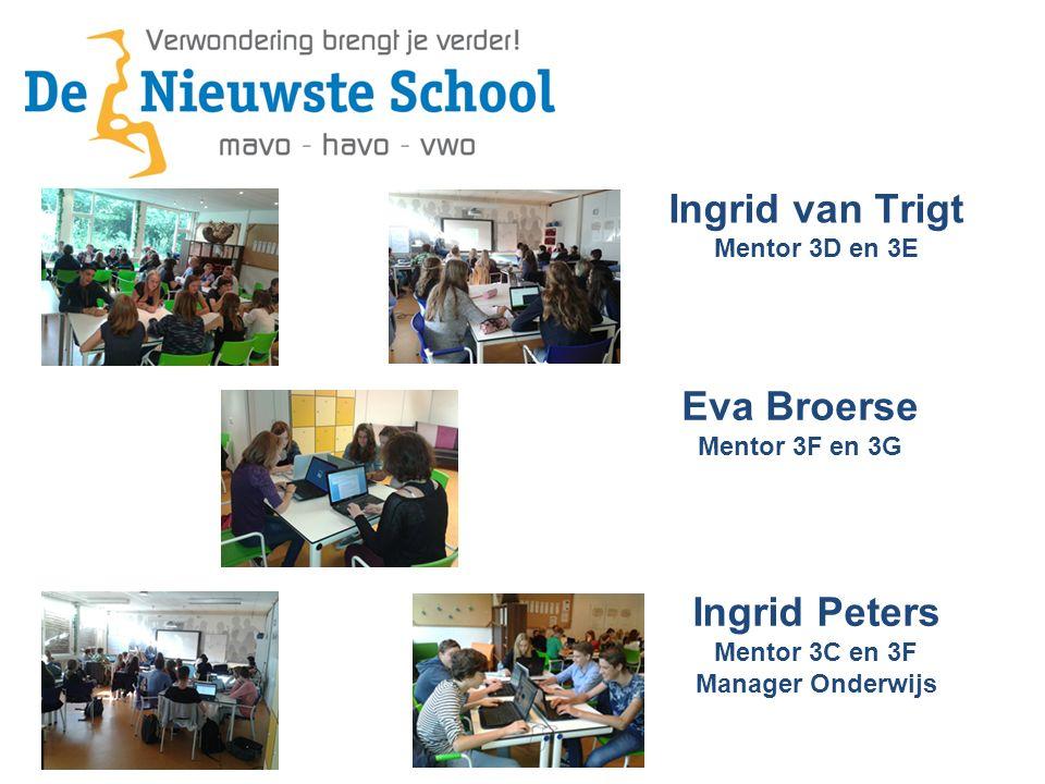 Ingrid van Trigt Mentor 3D en 3E Ingrid Peters Mentor 3C en 3F Manager Onderwijs Eva Broerse Mentor 3F en 3G