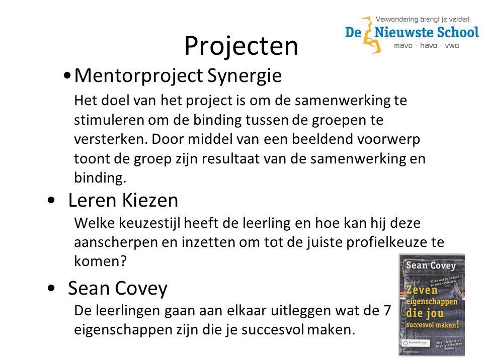 Projecten Mentorproject Synergie Het doel van het project is om de samenwerking te stimuleren om de binding tussen de groepen te versterken.