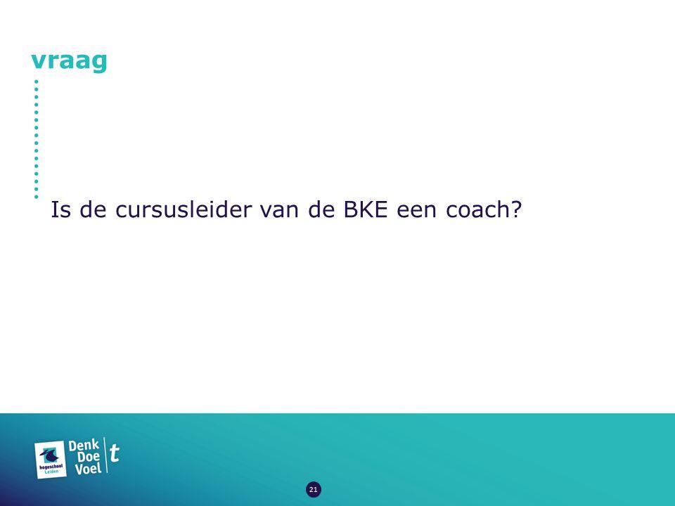 vraag Is de cursusleider van de BKE een coach? 21