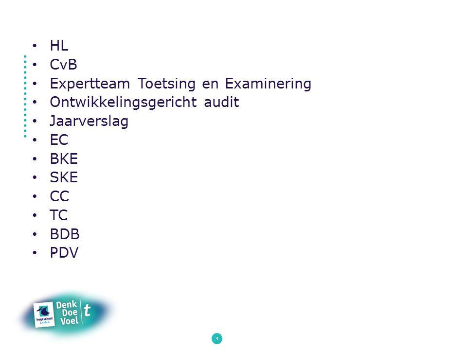 3 HL CvB Expertteam Toetsing en Examinering Ontwikkelingsgericht audit Jaarverslag EC BKE SKE CC TC BDB PDV