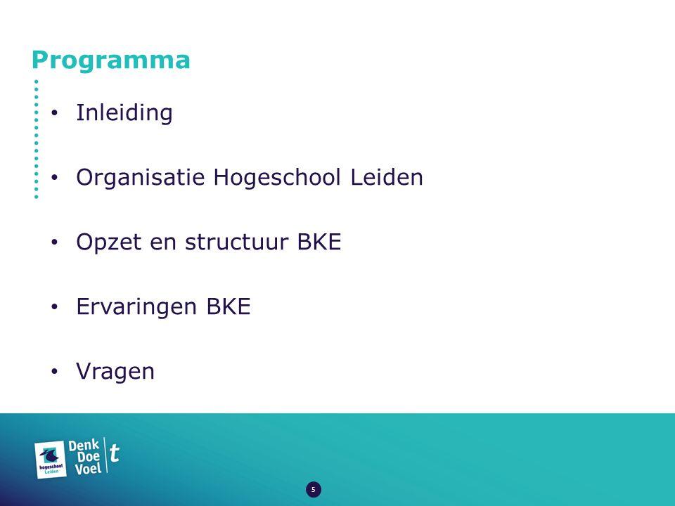 Programma Inleiding Organisatie Hogeschool Leiden Opzet en structuur BKE Ervaringen BKE Vragen 5