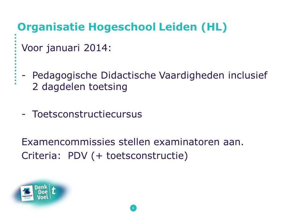 6 Voor januari 2014: -Pedagogische Didactische Vaardigheden inclusief 2 dagdelen toetsing -Toetsconstructiecursus Examencommissies stellen examinatore