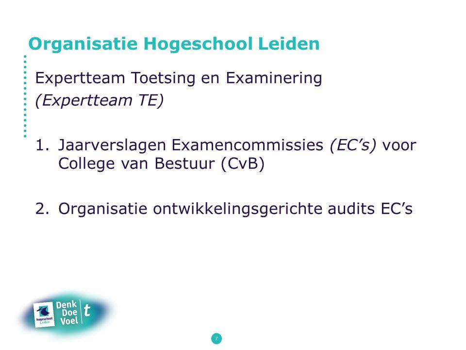 7 Expertteam Toetsing en Examinering (Expertteam TE) 1.Jaarverslagen Examencommissies (EC's) voor College van Bestuur (CvB) 2.Organisatie ontwikkeling