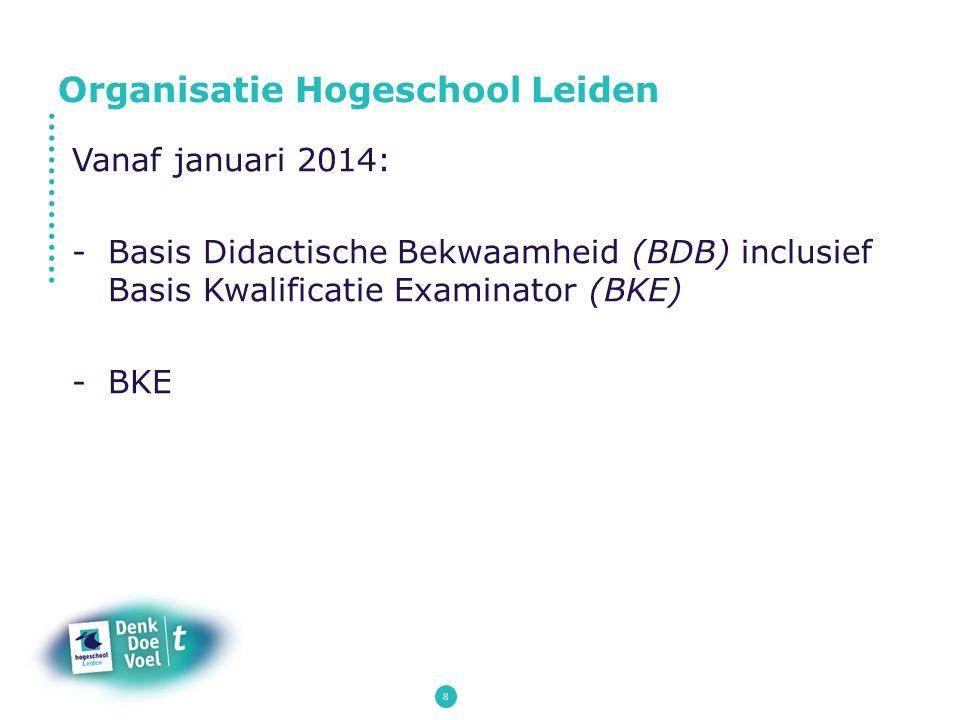 8 Vanaf januari 2014: -Basis Didactische Bekwaamheid (BDB) inclusief Basis Kwalificatie Examinator (BKE) -BKE Organisatie Hogeschool Leiden