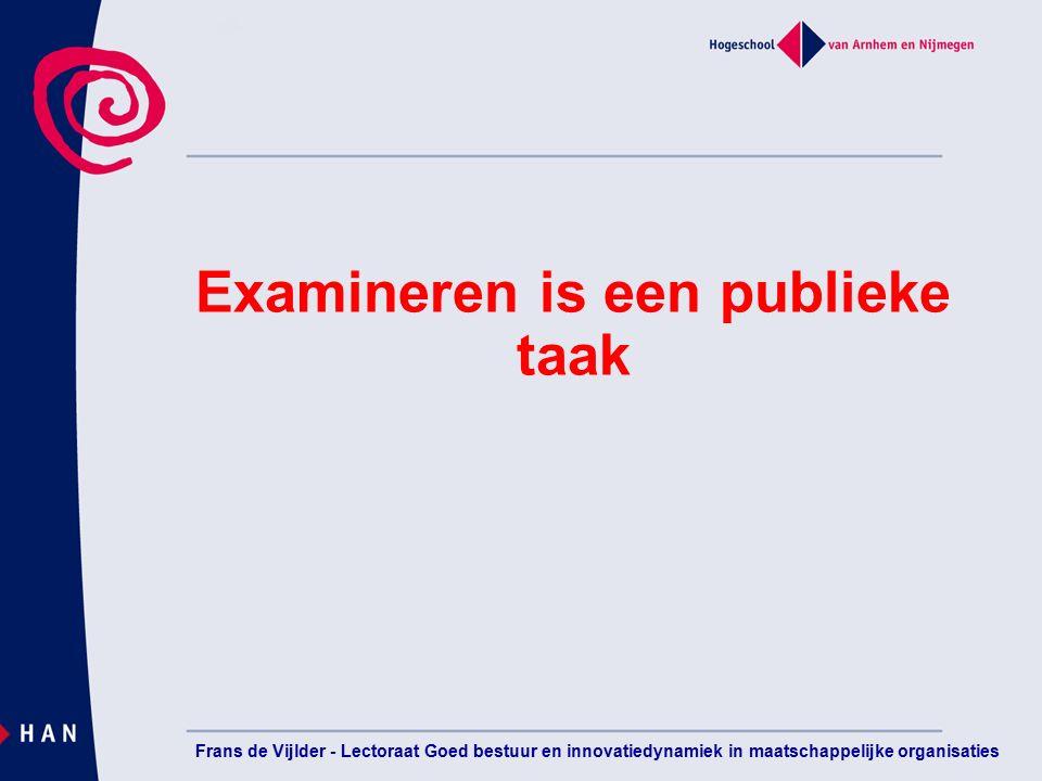Examineren is een publieke taak Frans de Vijlder - Lectoraat Goed bestuur en innovatiedynamiek in maatschappelijke organisaties