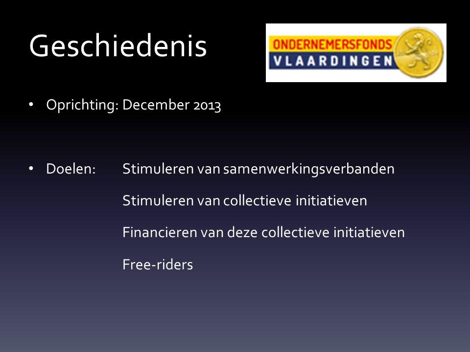 Geschiedenis Oprichting:December 2013 Doelen: Stimuleren van samenwerkingsverbanden Stimuleren van collectieve initiatieven Financieren van deze collectieve initiatieven Free-riders