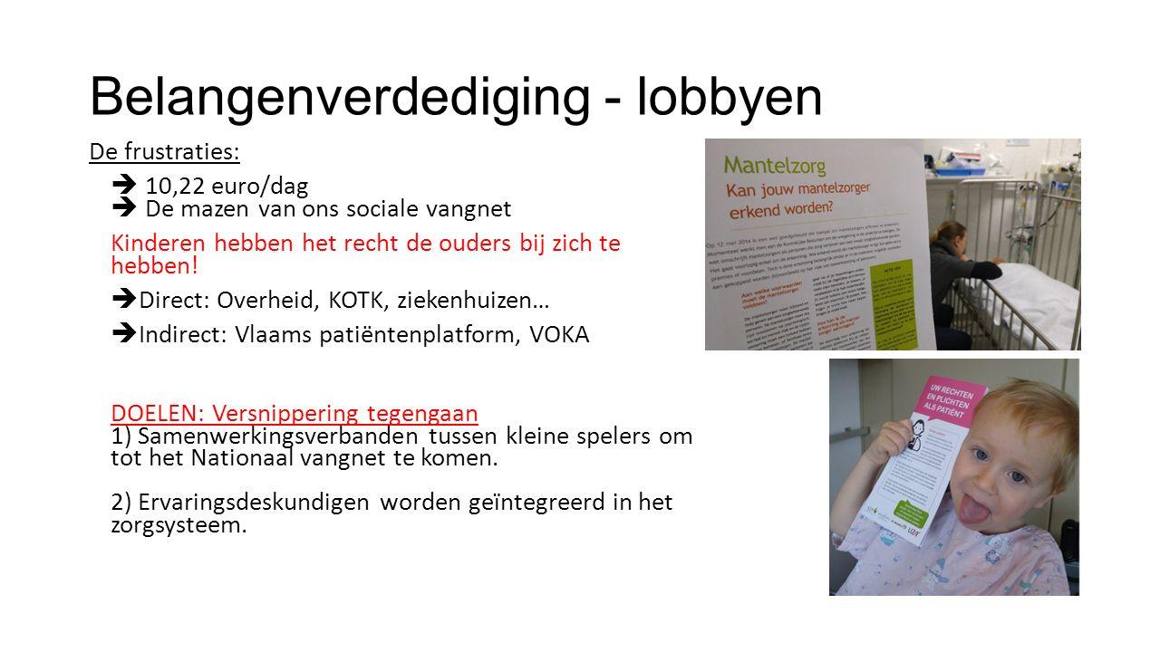 Belangenverdediging - lobbyen De frustraties:  10,22 euro/dag  De mazen van ons sociale vangnet Kinderen hebben het recht de ouders bij zich te hebben.