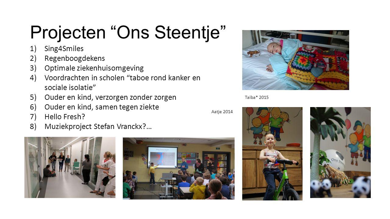 Projecten Ons Steentje 1)Sing4Smiles 2)Regenboogdekens 3)Optimale ziekenhuisomgeving 4)Voordrachten in scholen taboe rond kanker en sociale isolatie 5)Ouder en kind, verzorgen zonder zorgen 6)Ouder en kind, samen tegen ziekte 7)Hello Fresh.