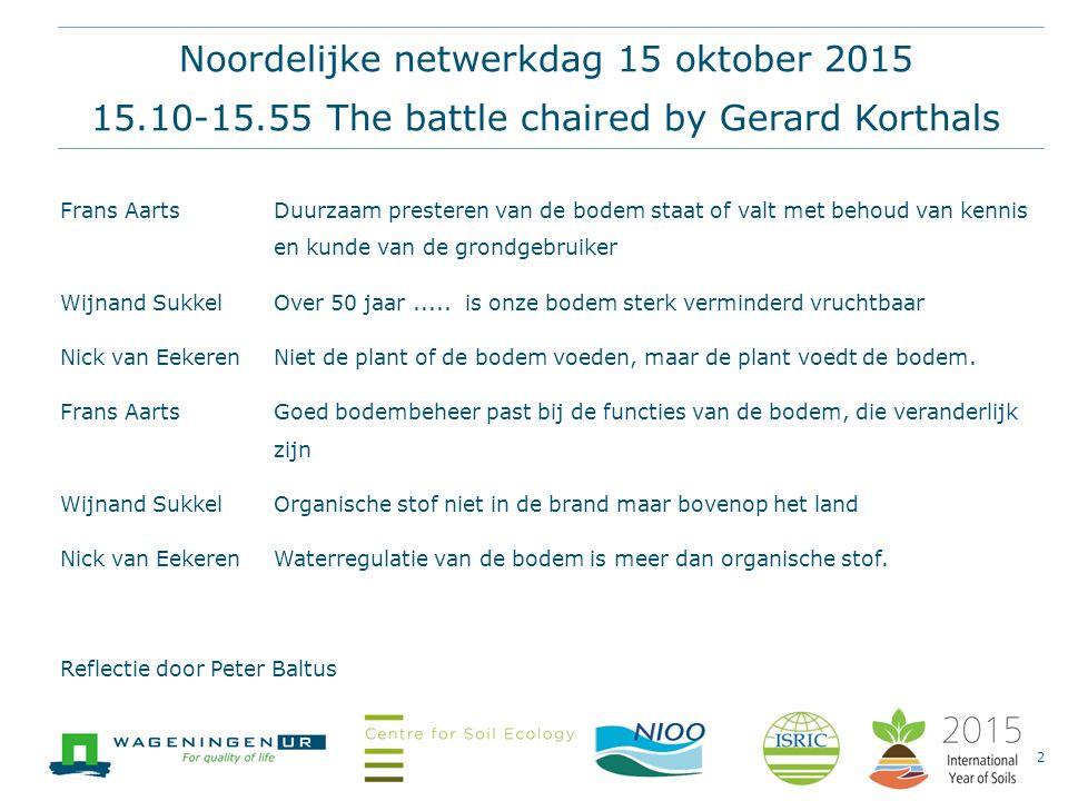 Noordelijke netwerkdag 15 oktober 2015 15.10-15.55 The battle chaired by Gerard Korthals Frans AartsDuurzaam presteren van de bodem staat of valt met behoud van kennis en kunde van de grondgebruiker Wijnand Sukkel Over 50 jaar.....