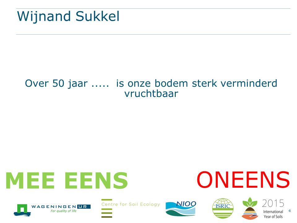 Wijnand Sukkel Over 50 jaar..... is onze bodem sterk verminderd vruchtbaar 4 ONEENS MEE EENS