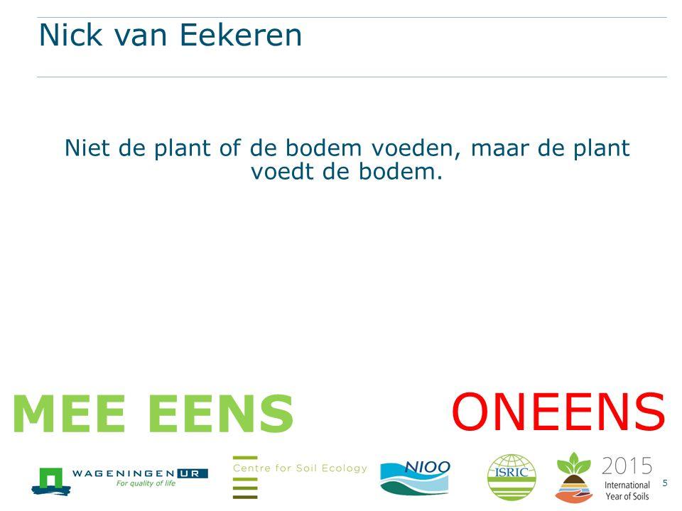 Nick van Eekeren Niet de plant of de bodem voeden, maar de plant voedt de bodem. 5 ONEENS MEE EENS