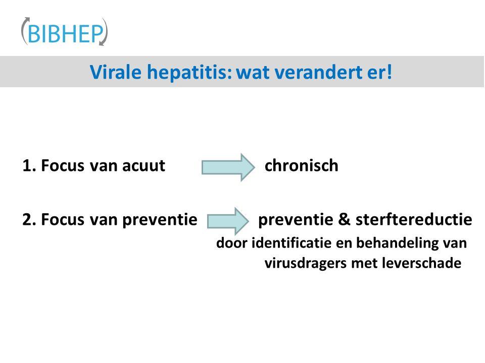 Virale hepatitis: wat verandert er! 1. Focus van acuut chronisch 2. Focus van preventie preventie & sterftereductie door identificatie en behandeling