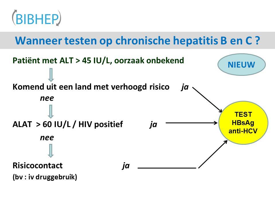 Wanneer testen op chronische hepatitis B en C ? Patiënt met ALT > 45 IU/L, oorzaak onbekend Komend uit een land met verhoogd risico ja nee ALAT > 60 I