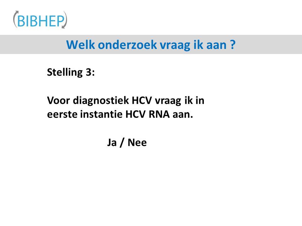 Stelling 3: Voor diagnostiek HCV vraag ik in eerste instantie HCV RNA aan.