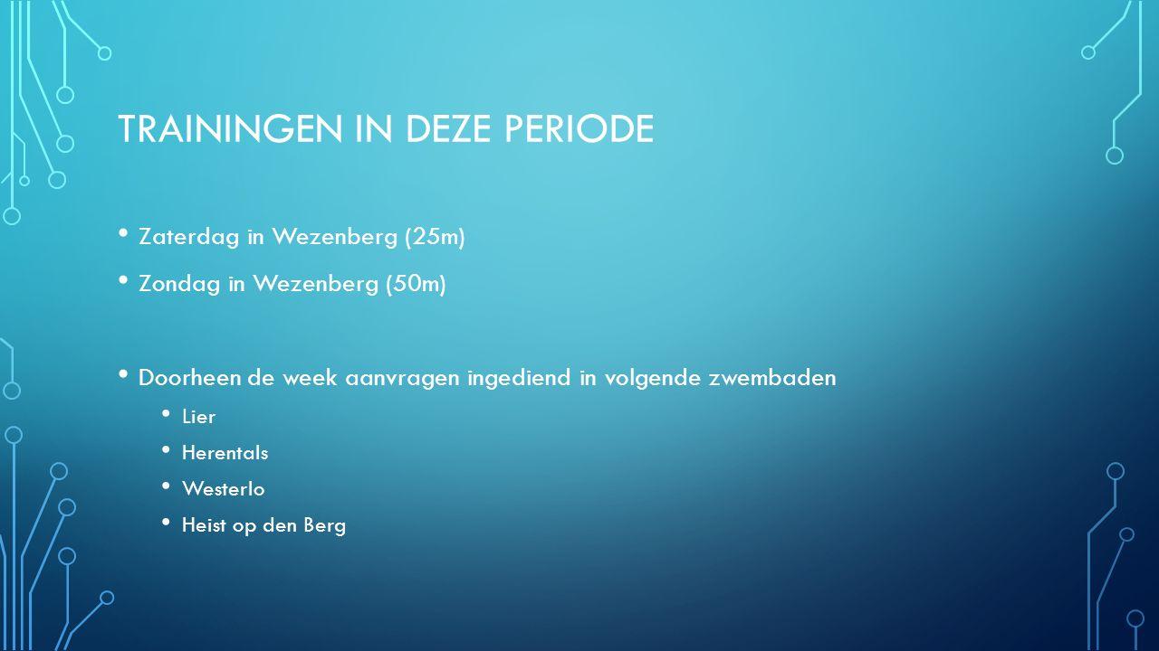 TRAININGEN IN DEZE PERIODE Zaterdag in Wezenberg (25m) Zondag in Wezenberg (50m) Doorheen de week aanvragen ingediend in volgende zwembaden Lier Herentals Westerlo Heist op den Berg