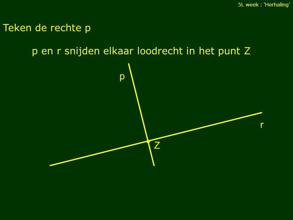 Teken de rechte p 5L week : 'Herhaling' r Z p en r snijden elkaar loodrecht in het punt Z p