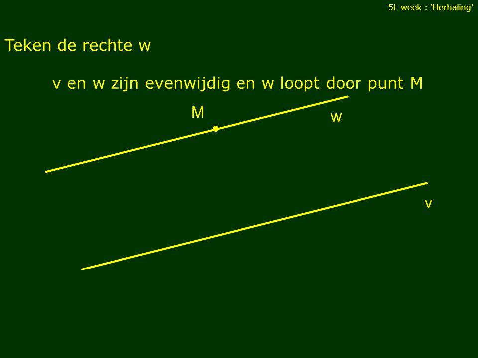 Teken de rechte w 5L week : 'Herhaling' v M v en w zijn evenwijdig en w loopt door punt M w