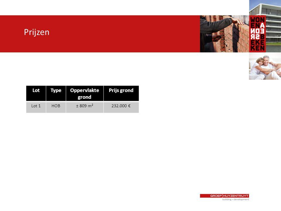 Prijzen LotTypeOppervlakte grond Prijs grond Lot 1HOB± 809 m²232.000 €
