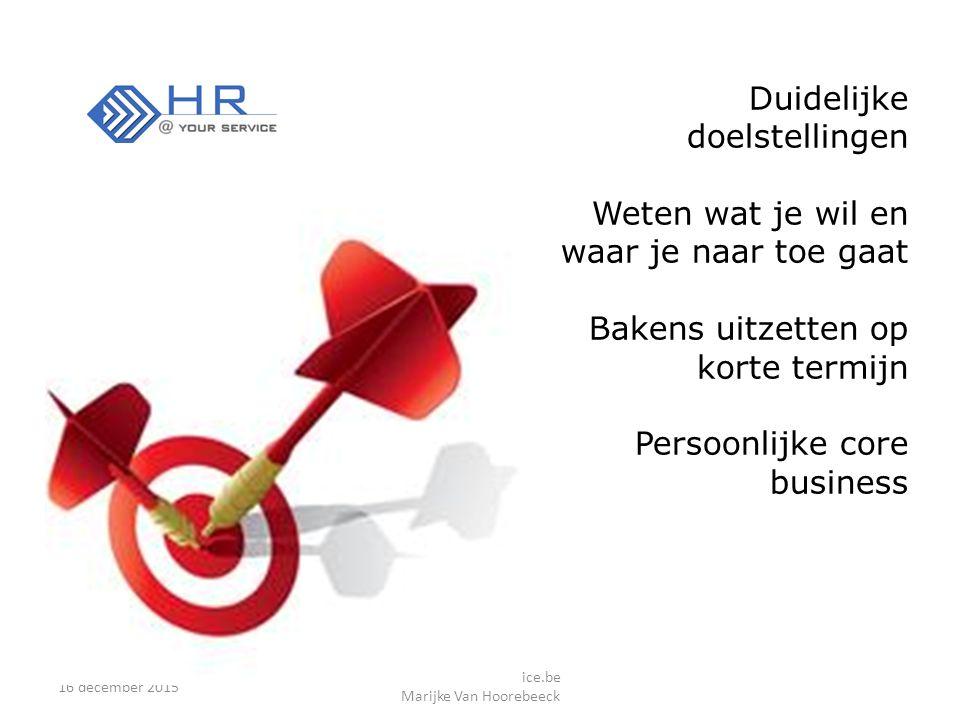 16 december 2015 www.HratYourService.be Marijke Van Hoorebeeck Duidelijke doelstellingen Weten wat je wil en waar je naar toe gaat Bakens uitzetten op korte termijn Persoonlijke core business