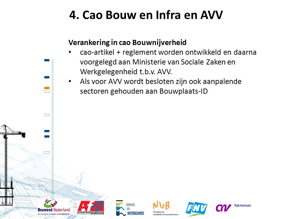 4. Cao Bouw en Infra en AVV Verankering in cao Bouwnijverheid cao-artikel + reglement worden ontwikkeld en daarna voorgelegd aan Ministerie van Social