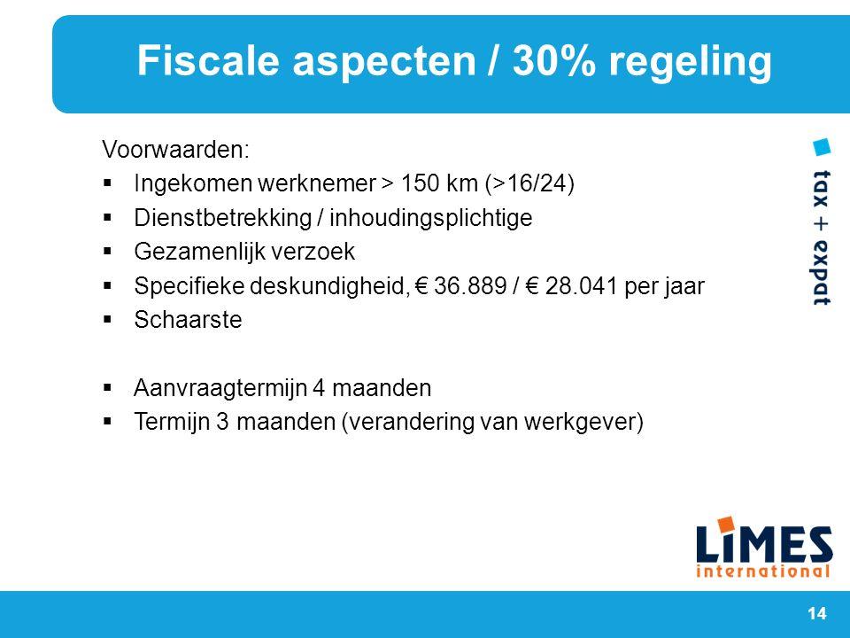 14 Voorwaarden:  Ingekomen werknemer > 150 km (>16/24)  Dienstbetrekking / inhoudingsplichtige  Gezamenlijk verzoek  Specifieke deskundigheid, € 3
