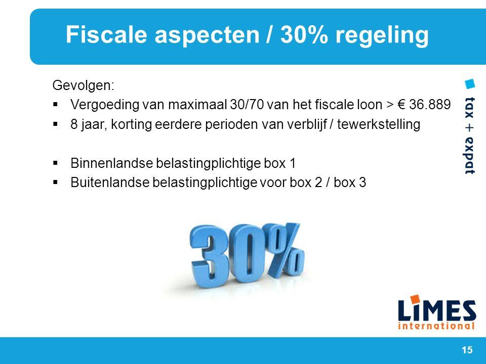 15 Gevolgen:  Vergoeding van maximaal 30/70 van het fiscale loon > € 36.889  8 jaar, korting eerdere perioden van verblijf / tewerkstelling  Binnen