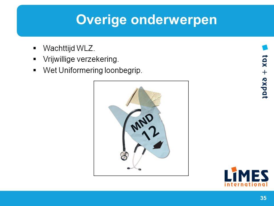 35  Wachttijd WLZ.  Vrijwillige verzekering.  Wet Uniformering loonbegrip. Overige onderwerpen