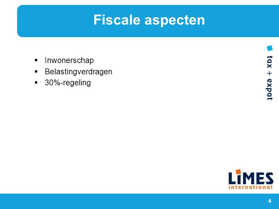 4  Inwonerschap  Belastingverdragen  30%-regeling Fiscale aspecten