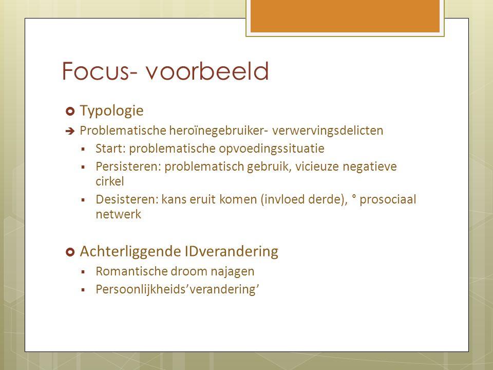 Focus- voorbeeld  Typologie  Problematische heroïnegebruiker- verwervingsdelicten  Start: problematische opvoedingssituatie  Persisteren: problema