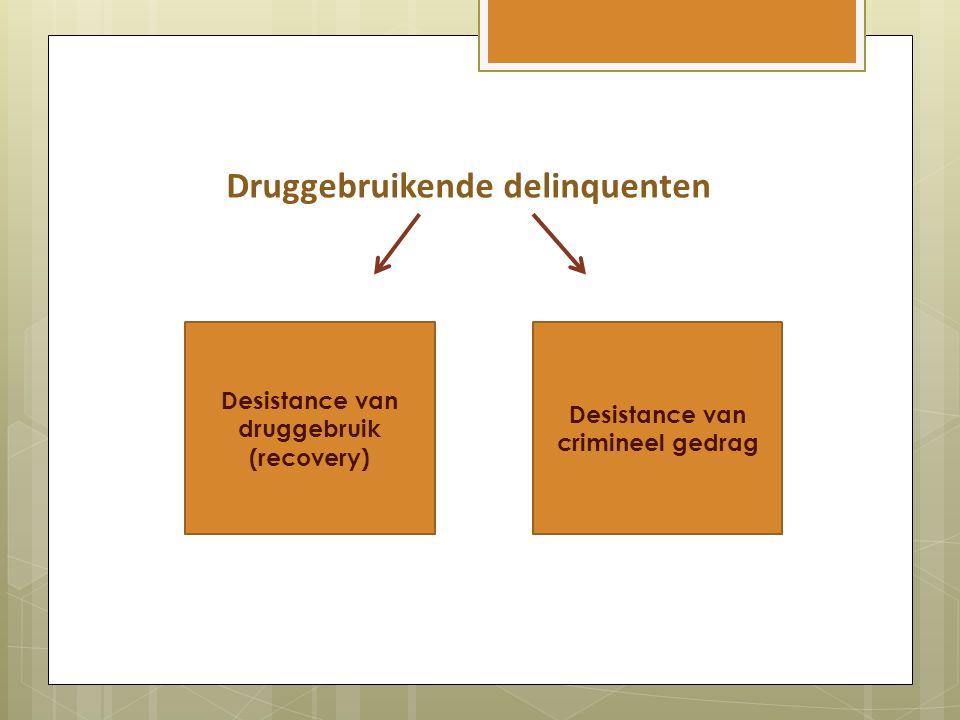 Druggebruikende delinquenten Desistance van druggebruik (recovery) Desistance van crimineel gedrag