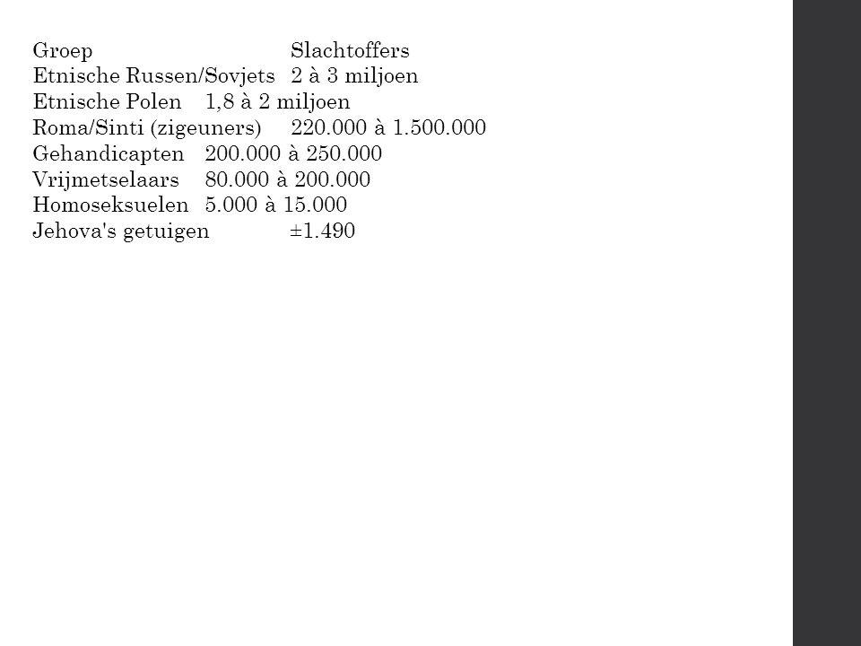 GroepSlachtoffers Etnische Russen/Sovjets2 à 3 miljoen Etnische Polen1,8 à 2 miljoen Roma/Sinti (zigeuners)220.000 à 1.500.000 Gehandicapten200.000 à 250.000 Vrijmetselaars80.000 à 200.000 Homoseksuelen5.000 à 15.000 Jehova s getuigen±1.490