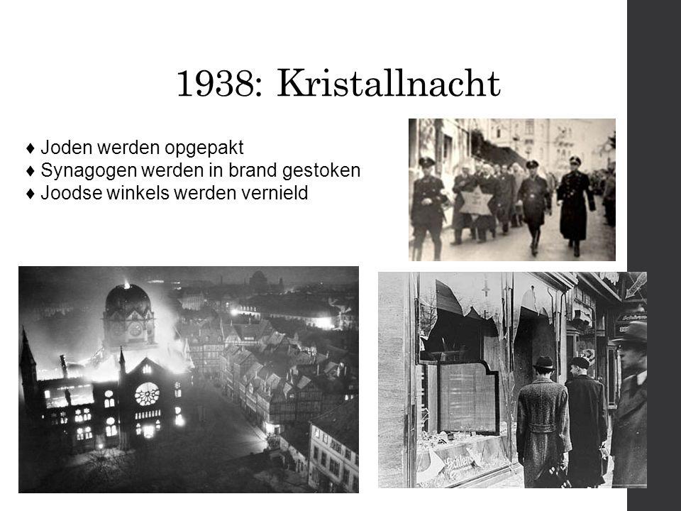 1938: Kristallnacht ♦ Joden werden opgepakt ♦ Synagogen werden in brand gestoken ♦ Joodse winkels werden vernield