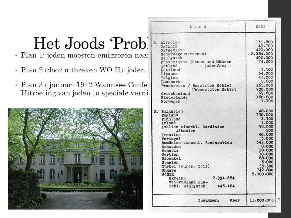 Het Joods 'Probleem' Plan 1: joden moesten emigreren naar Madagaskar Plan 2 (door uitbreken WO II): joden executeren in Polen Plan 3 ( januari 1942 Wannsee Conference): Uitroeiing van joden in speciale vernietigingskampen