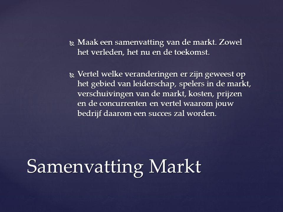  Maak een samenvatting van de markt. Zowel het verleden, het nu en de toekomst.