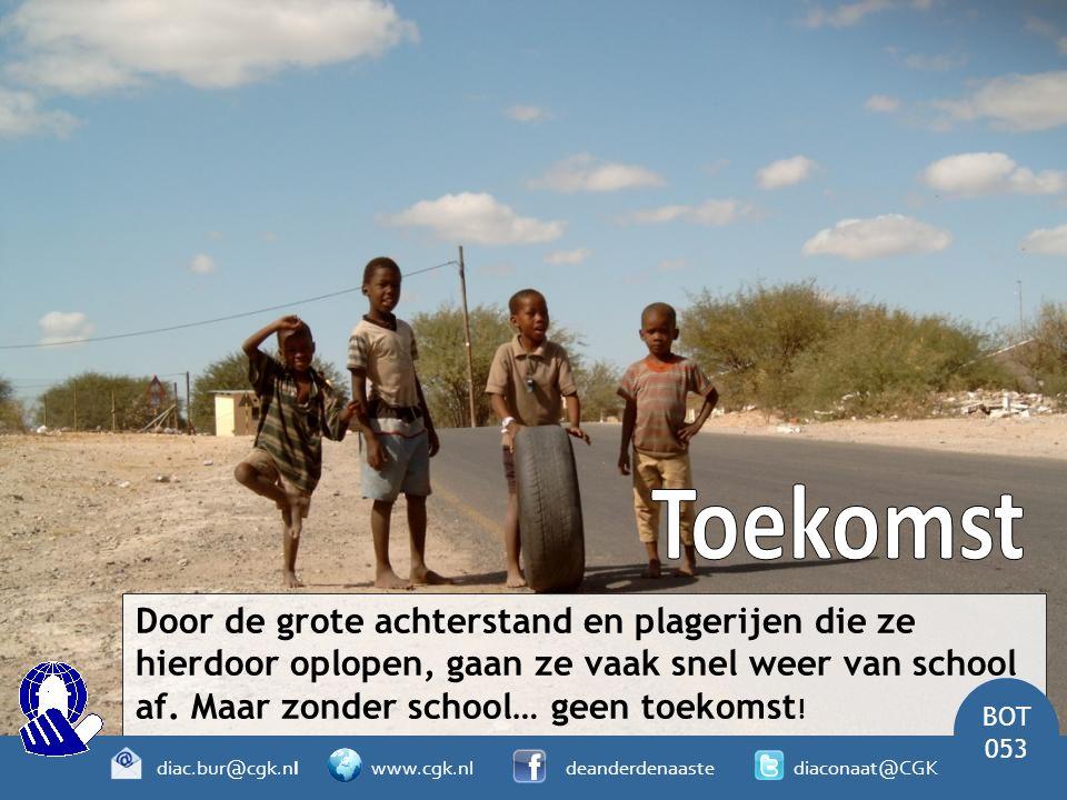 Door de grote achterstand en plagerijen die ze hierdoor oplopen, gaan ze vaak snel weer van school af. Maar zonder school… geen toekomst ! BOT 053 dia