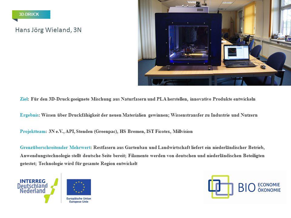 Ziel: Für den 3D-Druck geeignete Mischung aus Naturfasern und PLA herstellen, innovative Produkte entwickeln Ergebnis: Wissen über Druckfähigkeit der