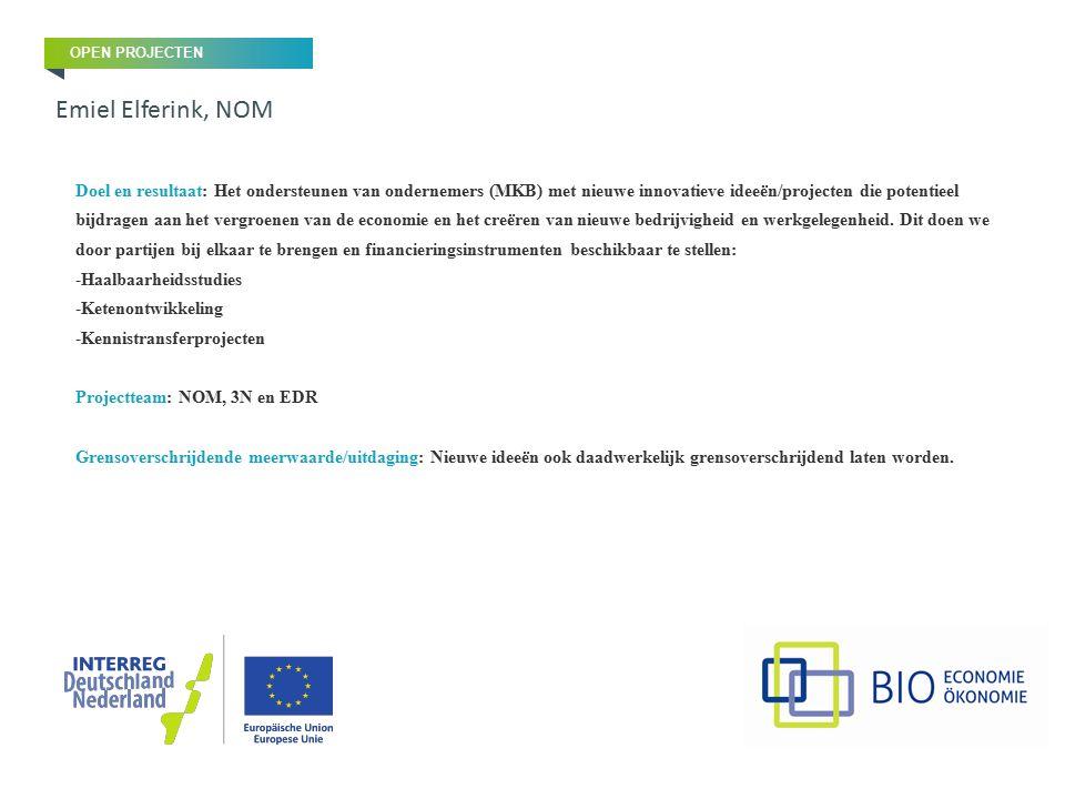 Doel en resultaat: Het ondersteunen van ondernemers (MKB) met nieuwe innovatieve ideeën/projecten die potentieel bijdragen aan het vergroenen van de e
