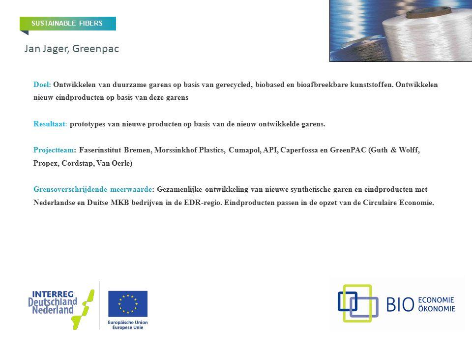 Doel: Ontwikkelen van duurzame garens op basis van gerecycled, biobased en bioafbreekbare kunststoffen. Ontwikkelen nieuw eindproducten op basis van d