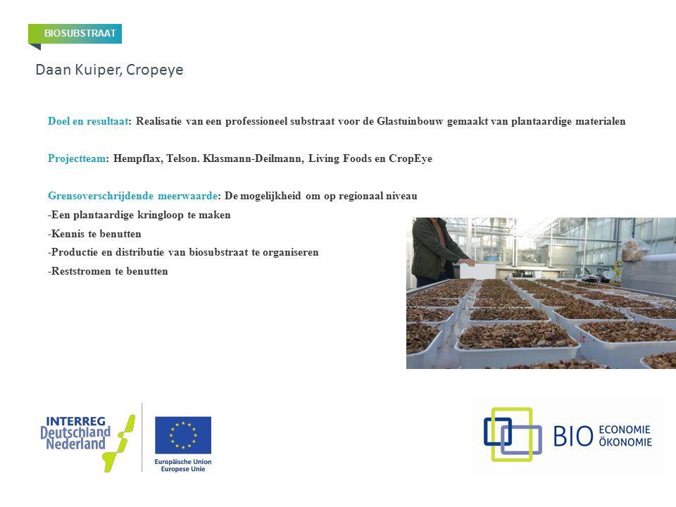 Doel en resultaat: Realisatie van een professioneel substraat voor de Glastuinbouw gemaakt van plantaardige materialen Projectteam: Hempflax, Telson.